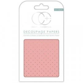 Papier décoratif à coller - Rose et pois argent - 35 x 40 cm - Craft Consortium