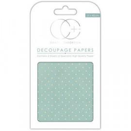 Papier décoratif à coller - Turquoise et pois dorés - 35 x 40 cm - Craft Consortium