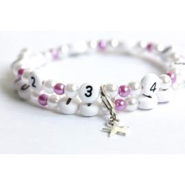 Bracelet d'allaitement en acrylique de couleur blanc et violet claire