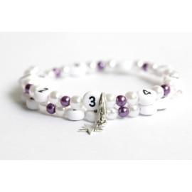 Bracelet d'allaitement en acrylique de couleur blanc et violet foncé