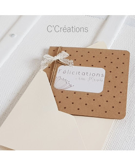 Carte Félicitations mariage - Quelques mots d'amour - coloris kraft et ivoire avec son enveloppe