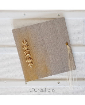 Livre d'or mariage lin doré et déco floral, format carré