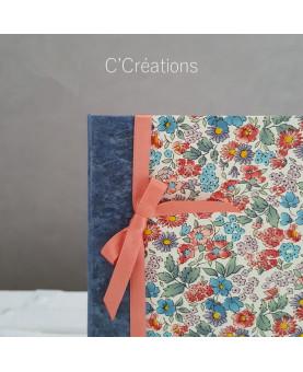 Carnet de notes, petit carnet de poche - Fleur bleue - coloris bleu et pêche