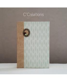 Carnet ou Journal intime -Kraft & Plume - coloris vert d'eau et beige