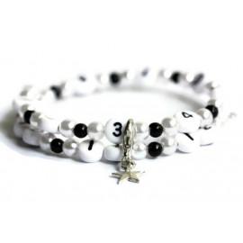Bracelet d'allaitement en acrylique de couleur blanc et noir