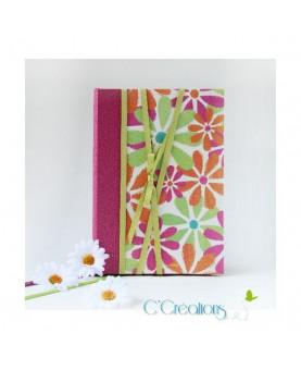 Carnet, Journal intime - Marguerite - fuchsia, vert, anis, orange et blanc