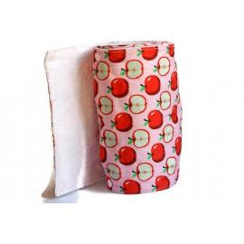Rouleau d'essuie-tout lavable - 8 feuilles - Pomme rouge et rose - coton et éponge