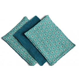 Lingettes lavables de 15x20cm bleu origami - coton et éponge