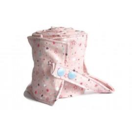 Rouleau de 20 feuilles de papier toilette lavable en flanelle - rose et étoiles
