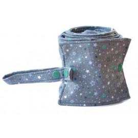 Rouleau de 20 feuilles de papier toilette lavable en flanelle - gris foncé et étoiles