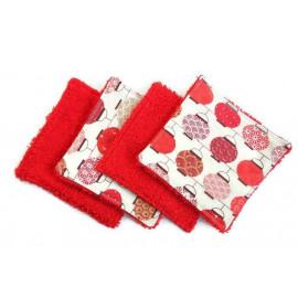 Lingettes lavables de 10cm rouge lampions - coton et éponge