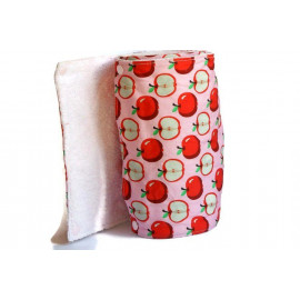 Rouleau d'essuie-tout lavable - 12 feuilles - Pomme rouge et rose - coton et éponge