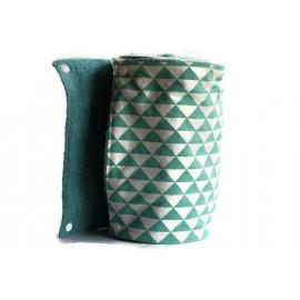 Rouleau d'essuie-tout lavable - 12 feuilles - Triangle vert et blanc - coton et éponge