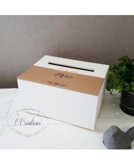 Urne, boite pour dons invités mariage - Kraft -  en papier kraft brun, satin  ivoire, personnalisable