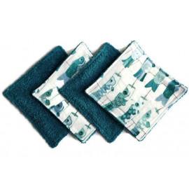 Lingettes lavables de 10cm turquoise carpes - coton et éponge