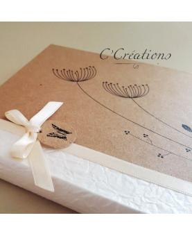 Livre d'or mariage - Rustic - en papier brun et blanc, satin ivoire, personnalisable