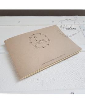 Carnet - Livre d'or mariage champêtre en kraft et ivoire, format A5 paysage