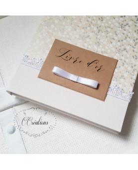 Livre d'or mariage -Romance - blanc et gris fleuri, étiquette kraft et galon