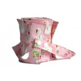 Rouleau de 20 feuilles de papier toilette lavable en flanelle - rose - cygnes