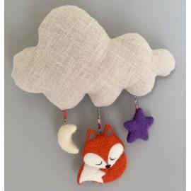 Mobile nuage renard, lin, décoration chambre d'enfant
