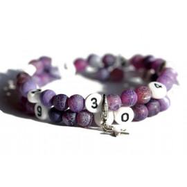 Bracelet d'allaitement en agate givré de couleur violet