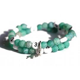 Bracelet d'allaitement en agate givré de couleur vert