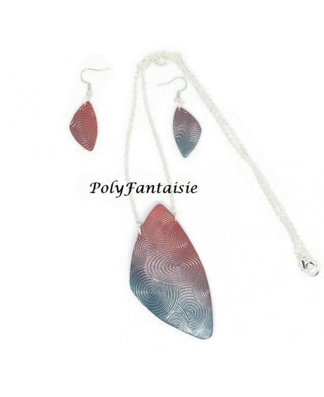 le plus fiable belle couleur Garantie de satisfaction à 100% Parure collier et boucles d'oreilles très douces - dégradé bleu rose