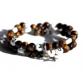 Bracelet d'allaitement en oeil de tigre de couleur marron