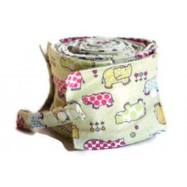 Rouleau de 20 feuilles de papier toilette lavable en flanelle - vert claire - hippopotames