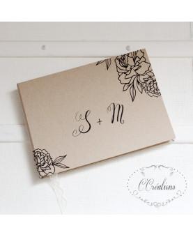 Livre d'or mariage - Note florale - coloris brun, noir et ivoire