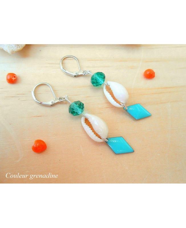 prix favorable vraiment à l'aise design intemporel Boucles d 'oreilles ethnique, coquillage, sequin géométrique, turquoise,  idée cadeau anniversaire