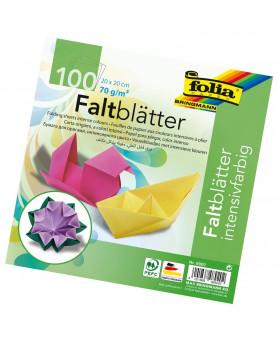 Papier origami uni - Couleurs vives - Folia - 20 x 20 cm