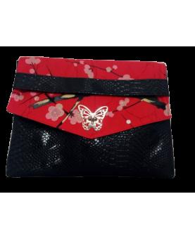 Pochette fleurs de cerisiers rouge et simili croco noir