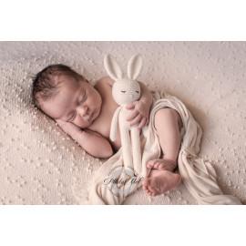 DODO le lapin qui dort en coton BIO à PERSONNALISER