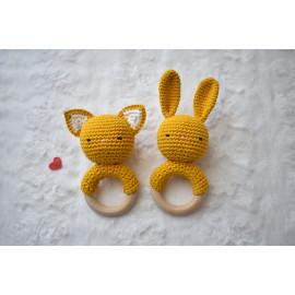 Hochet chat ou lapin coton Certifié OEKO-TEX®, hochet dentition, jaune moutarde -Sur commande -