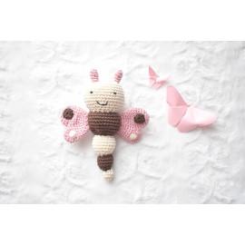 Hochet papillon ,fait main, hochet bebe, cadeau naissance, jouet d'éveil