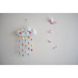 Mobile bebe mural nuage, gouttes multicolores chambre bébé, babyshower