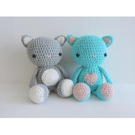 Peluche chat, cadeau saint valentin doudou chat, peluche decorative, coton, fait main