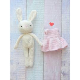 peluche Lapin coton BIO robe rose peluche,  doudou lapin ecru, fait main