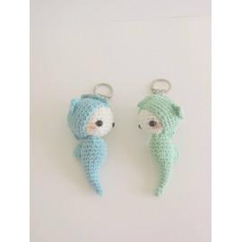 Porte clés hippocampe peluche miniature decorative