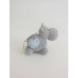 Porte clés hippopotame coeur, peluche miniature