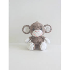Porte clés singe peluche miniature decorative