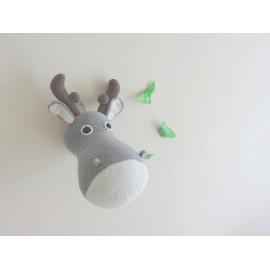 Trophée elan, renne decoration chambre enfant, peluche decorative, fausse taxidermie, trophée animal