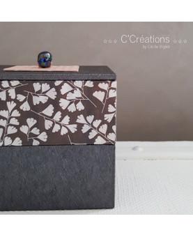 Coffret ☆ Églantine ☆ boite à bijoux, boite décoration, écrin ou vide poche, coloris gris anthracite et rose