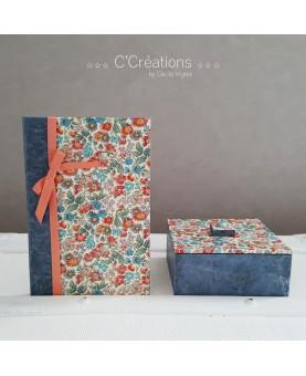 Coffret ☆ Fleur bleue ☆  boite à bijoux, décoration, écrin ou bonbonnière coloris bleu, rose et pêche