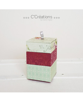Coffret ☆ Green ☆ coffret à bijoux, boite décoration, écrin ou vide poche, trois coffrets emboîtables coloris vert et rose