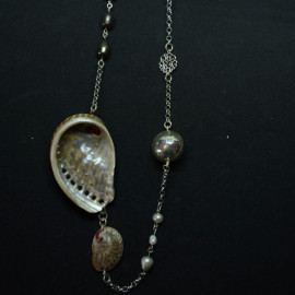 Sautoir - Inspiration de la mer - Coquillage et perle sur argent