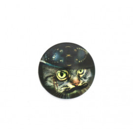 Cabochon verre - Chat steampunk - 20 mm