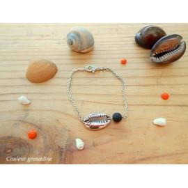 Bracelet coquillage cauris, bracelet diffuseur d'huiles essentielles, pierre de lave, aromathérapie