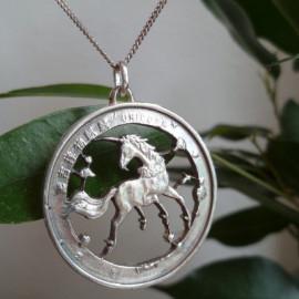 Pendentif Talisman - Licorne/Unicorn -  Argent